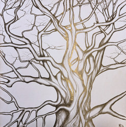 Silver Tree. Silverpoint on board