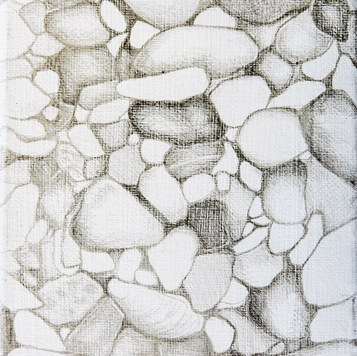 Pebbles. Silverpoint on canvas.
