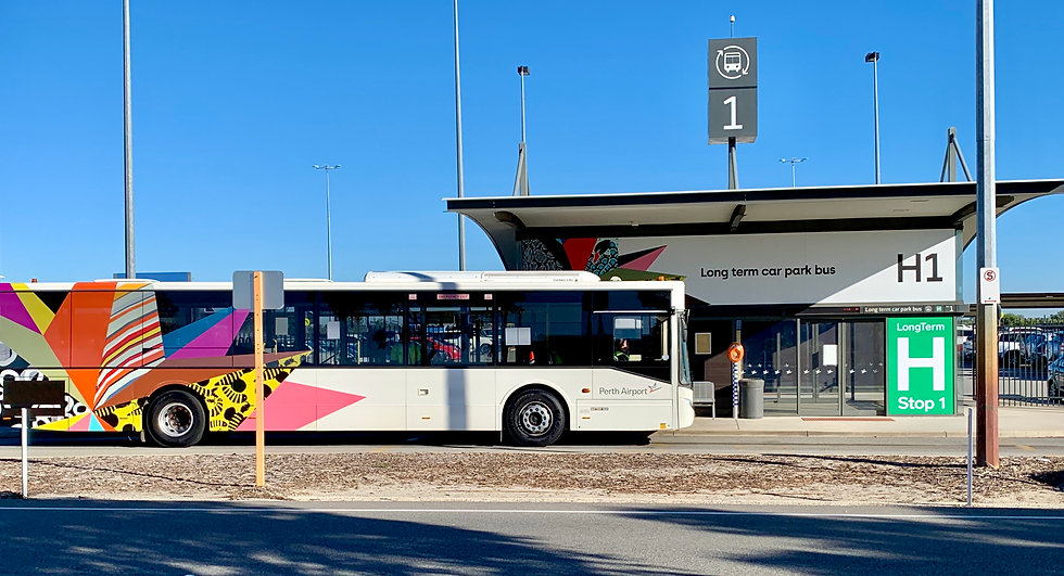 Perth Airport Bus Stop with Onboard Pass