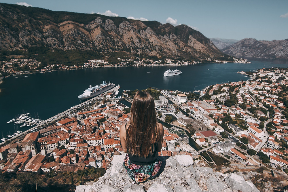 Girl on a mountain in Kotor St Johns Fortress