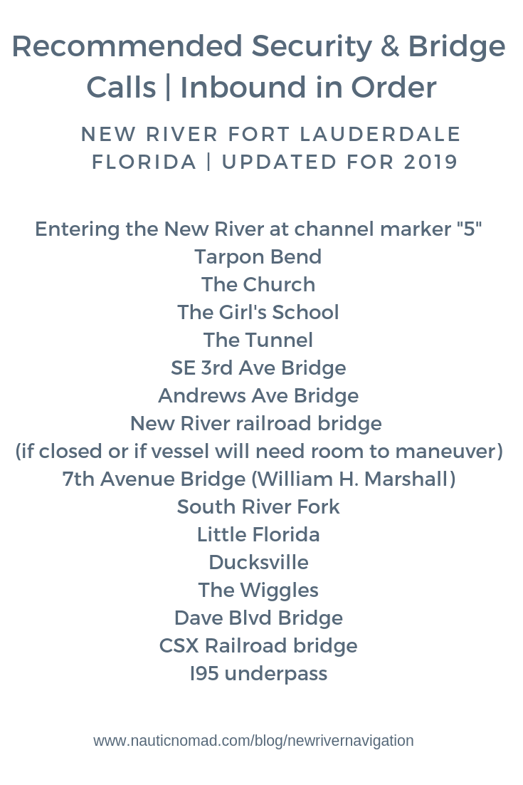 Securite & Bridge Calls for the New River Fort Lauderdale