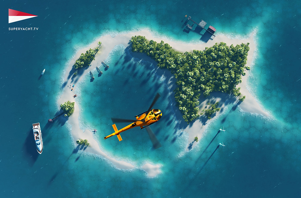 Summer tropical island. Small helicopter flying above private pa