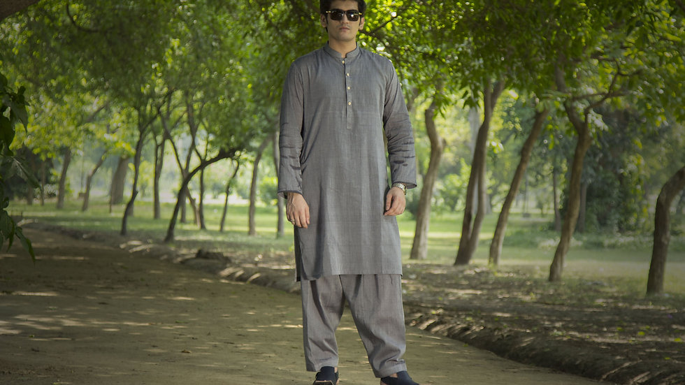 Shalwar Kameez Grey Suit for Men