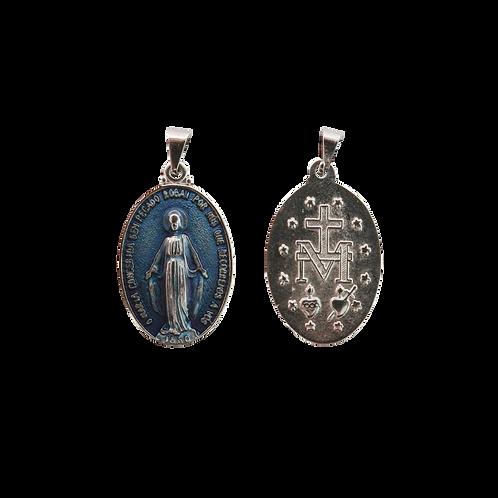 Medalha N. Sra. das Graças oval 3 cm N.I. resina azul