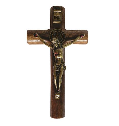 Crucifixo de parede 12 cm cilíndrico São Bento