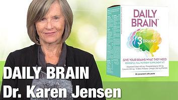 photo of Dr. Karen Jensen and Daily Brain supplements