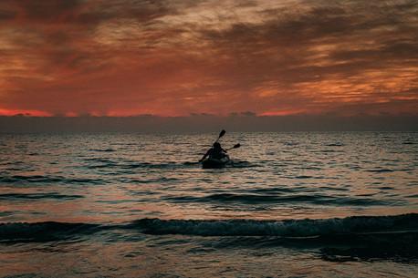 A kayak at sunset time