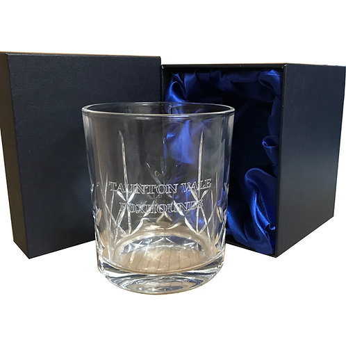 Engraved Taunton Vale Foxhounds crystal whiskey glass