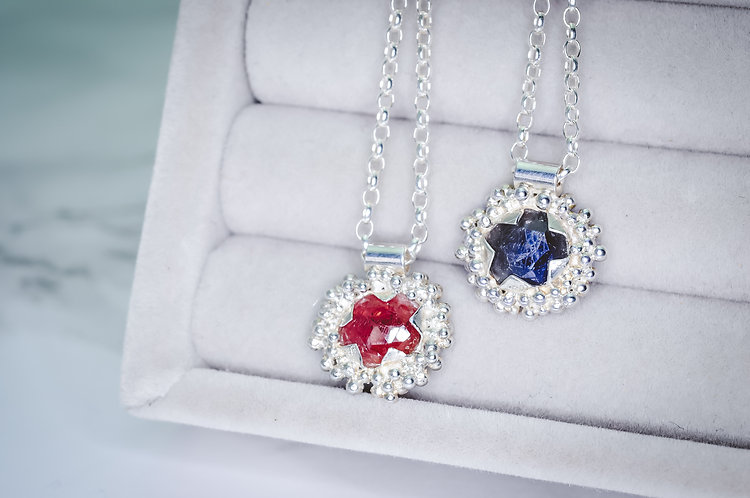 Rose Cut Sapphire Granulated Necklace