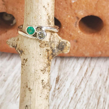 Sterling Silver Emerald and Topaz double birthstone ring