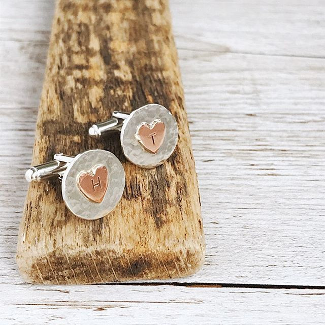 Sterling Silver and Copper detail personalised cufflinks