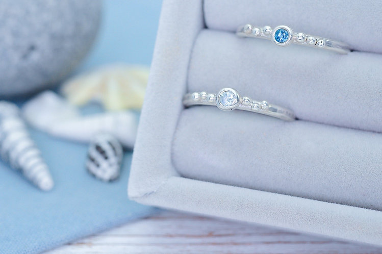 Tiny Bubbles Gemstone Stacking Ring