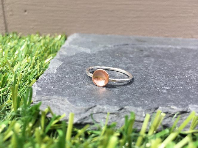 Domed Copper and Silver Ring