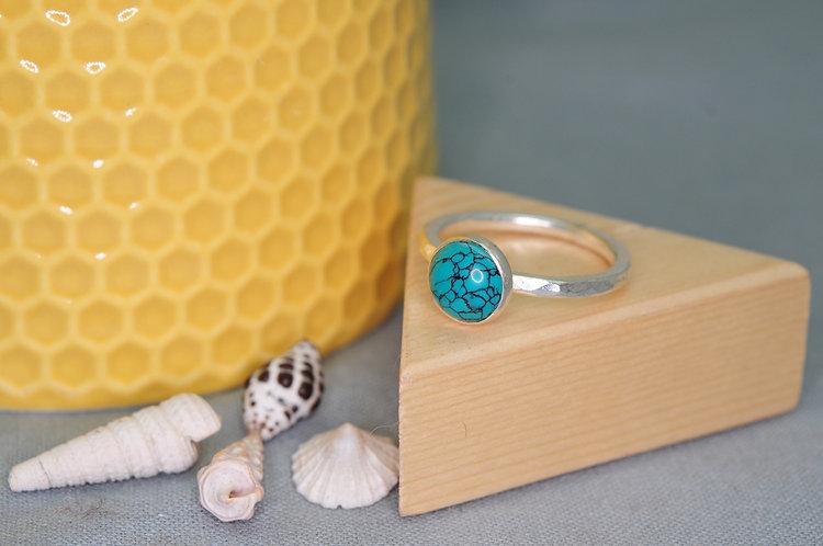 Silver Gemstone Cabachon Stacking Ring