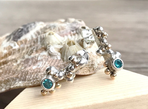 Silver and Gold granulation detail earrings