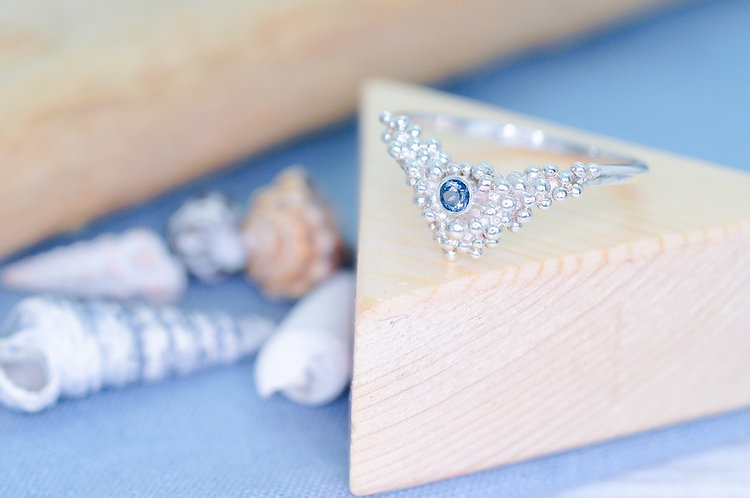 Crest of a Wave Gemstone Wishbone Ring