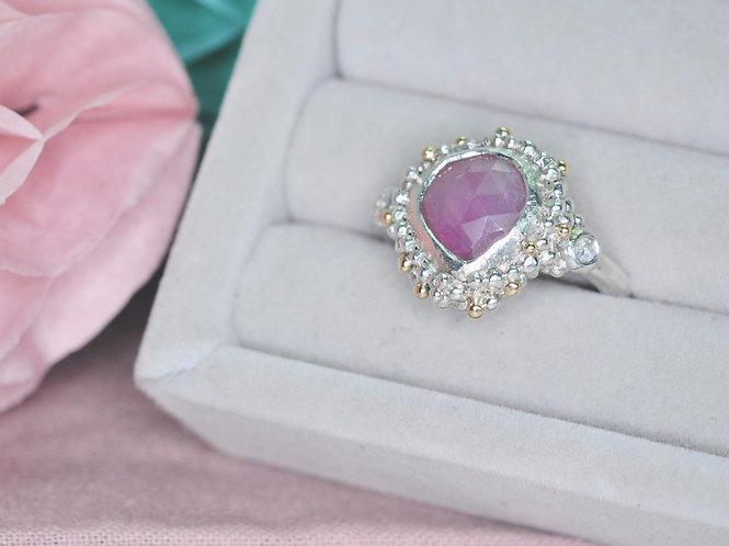 Rose Cut Pink Sapphire & Diamond Ring