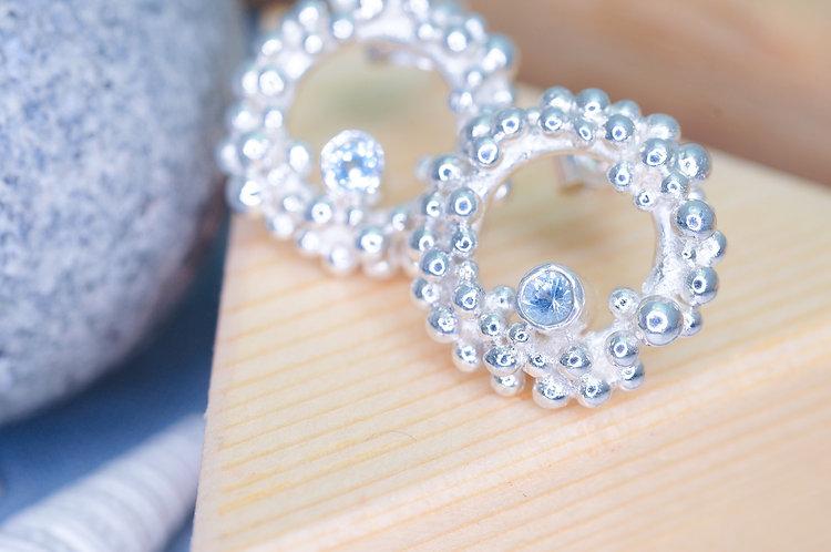 Seafoam Gemstone Stud Earrings