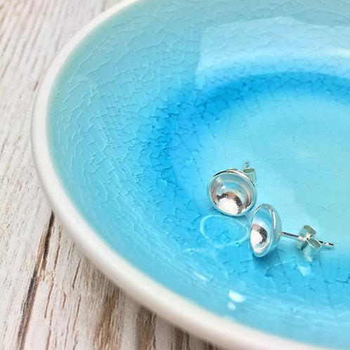 Domed Silver Earrings