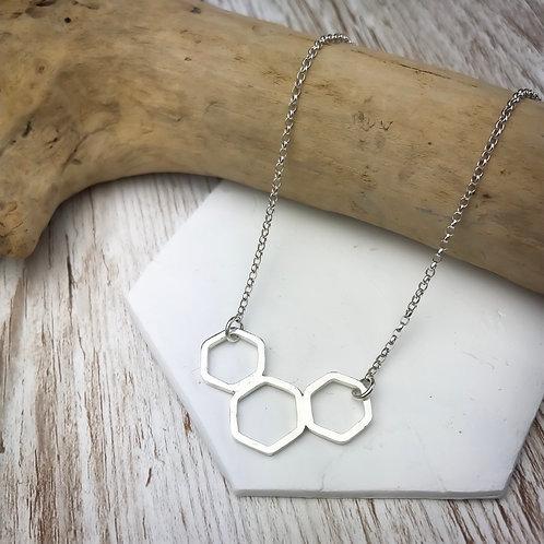 Silver Hexagon Trio Necklace