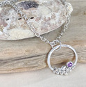 Amethyst and silver granulation necklace