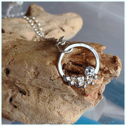 Sterling Silver and Topaz granulation necklace