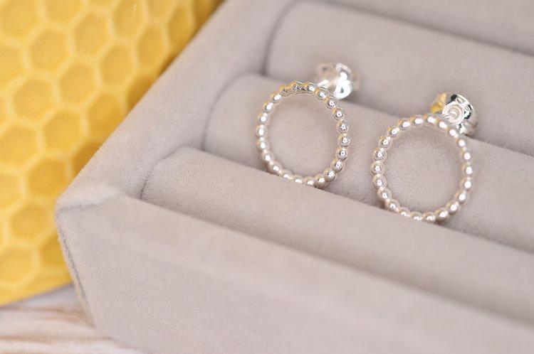 Silver Bubble Circle Earrings