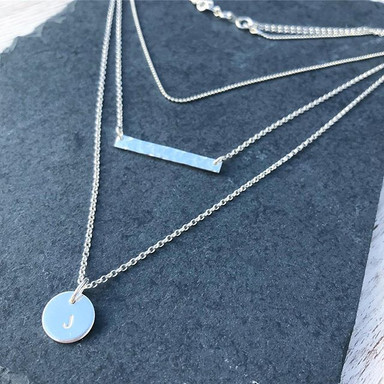 Sterling Silver triple layer personalised necklace