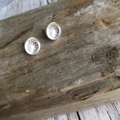 Spotty Domed Silver Earrings