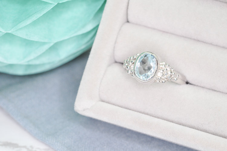 Aquamarine Bubble Ring