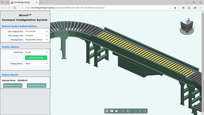 Visual configuration links underlying rules, designs and objects directly to a graphically interactive user interface