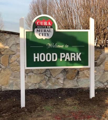 Hood Park Location Sign