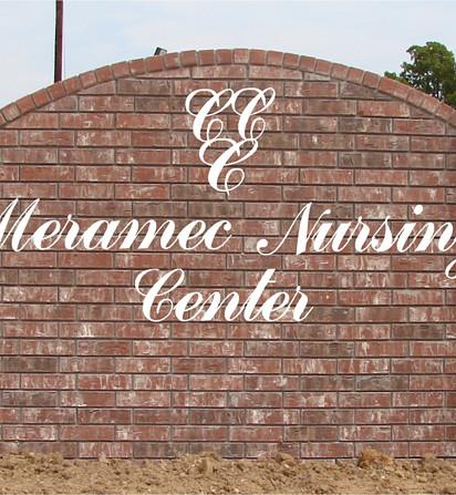 Meramec Nursing Brick Monument Sign