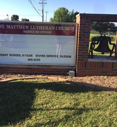 St. Matthew Brick Metal Channel Letter Sign Lit