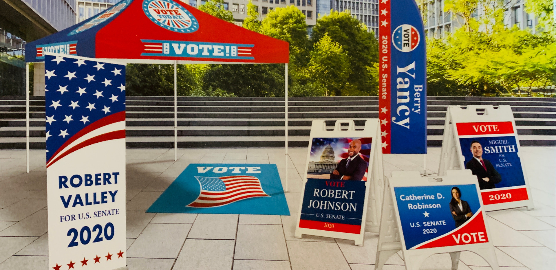 political signs displays sidewalk signs.