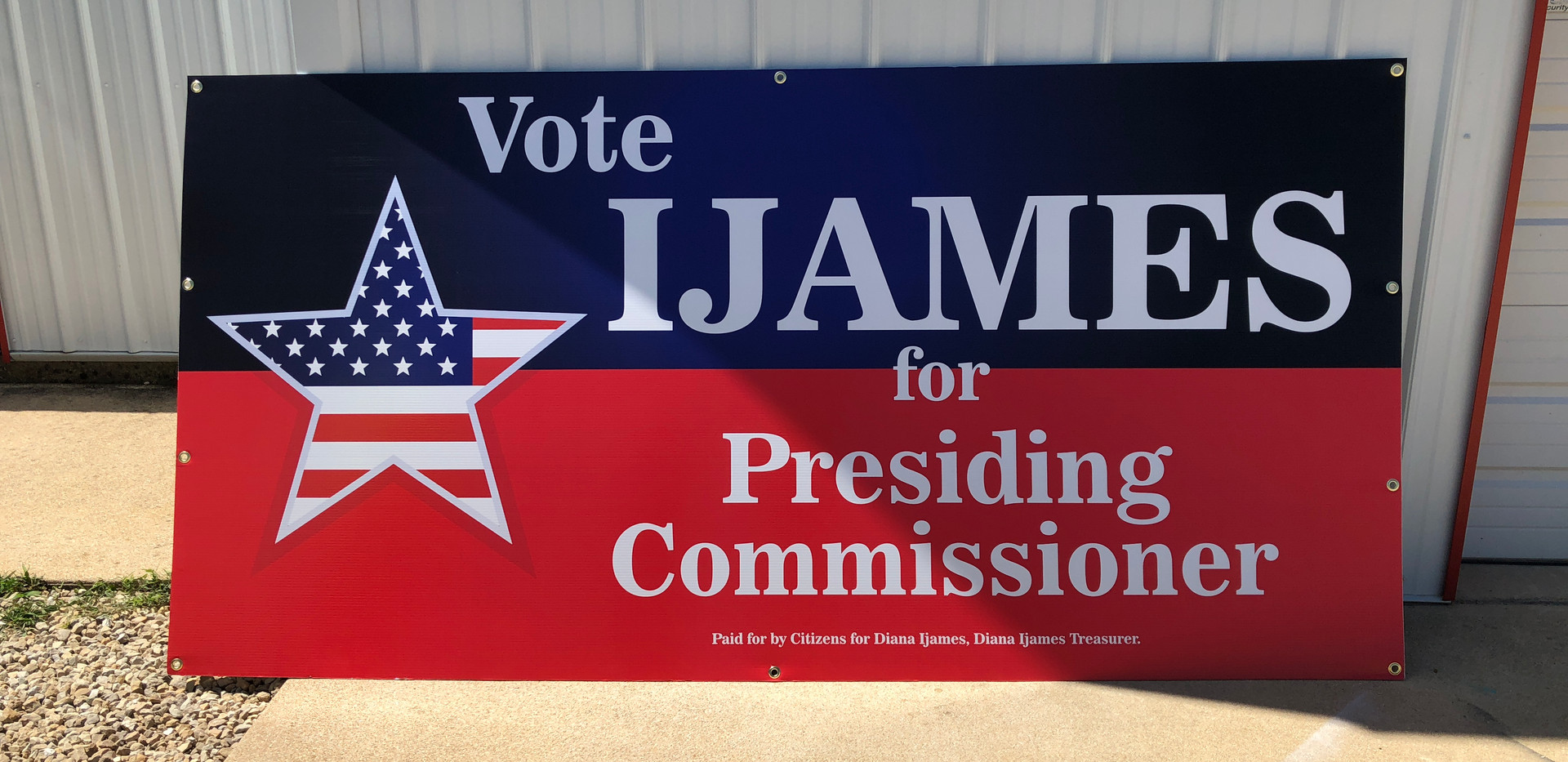 presiding commissioner political sign