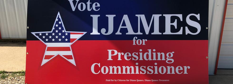 presiding commissioner political sign