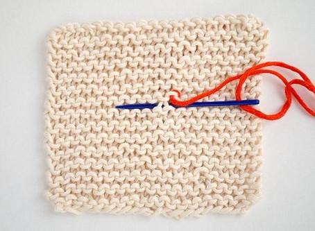 Draadjes wegwerken in ribbels breiwerk