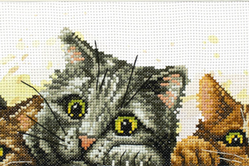 Voorbedrukt borduurpakket Curious Kittens - Needleart