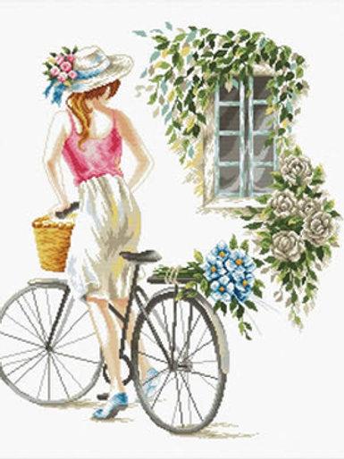 Voorbedrukt borduurpakket Bicycle Girl - Needleart