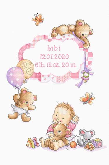 Borduurpakket It's a girl! - Leti Stitch