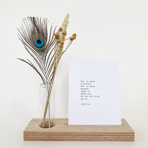 -plotje- tekstplankje met droogbloemen (+ 5 kaarten)
