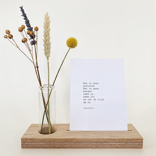 -plotje- tekstplankje met droogbloemen