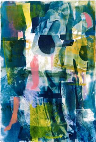 """Tina Graf, """"Akt den Berg aufsteigend Nr. 2"""", Cyanotypie, Monotypie auf 250g Hahnemühle, 53 x 78 cm, 2019."""