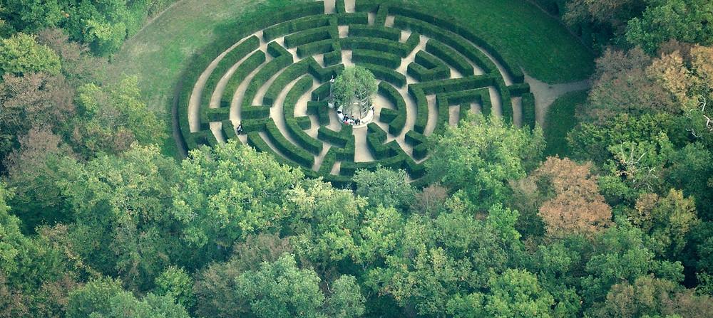 Labyrinthe du jardin du château de Chenonceau, vu de haut
