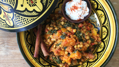 Pumpkin, chickpea and date tagine