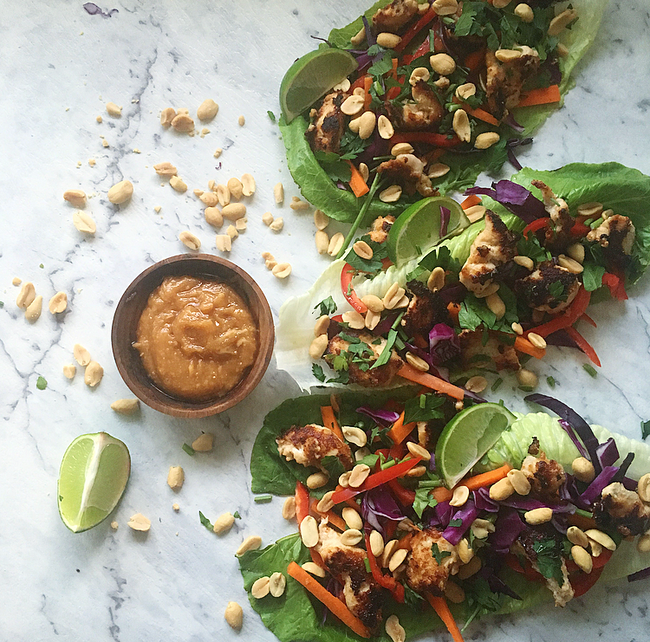 Thai chicken peanut lettuce cups