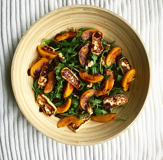 Grilled peach and haloumi salad