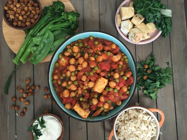 Chickpea and tofu curry with greens