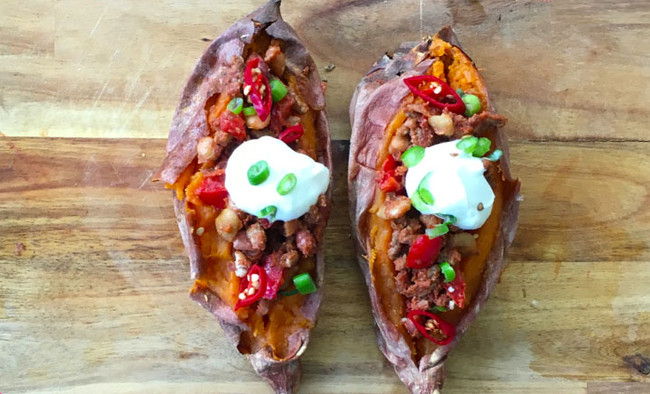 Roasted sweet potato stuffed with chilli con carne